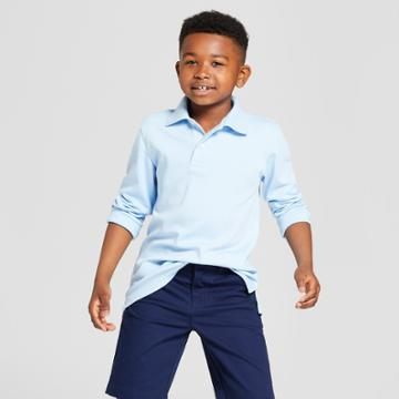 Boys' Long Sleeve Interlock Uniform Polo Shirt - Cat & Jack