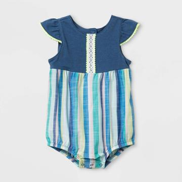 Baby Girls' Knit Textured Romper - Cat & Jack Blue Newborn, Girl's,