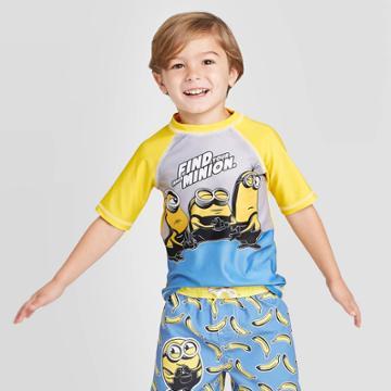 Toddler Boys' Minions Rash Guard - Yellow 2t, Toddler Boy's,