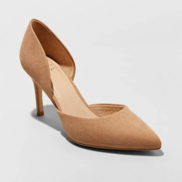 Women's Lacey Wide Width D'orsay Heel Pumps - A New Day Tan