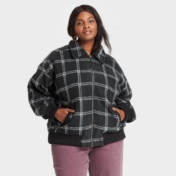 Women's Plus Size Plaid Knit Bomber Jacket - Universal Thread Hematite