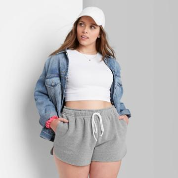 Women's Plus Size Super-high Rise Dolphin Shorts - Wild Fable Gray
