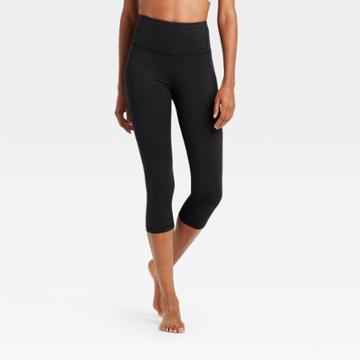 Women's Contour Power Waist High-rise Capri Leggings With Pocket 20 - All In Motion Black