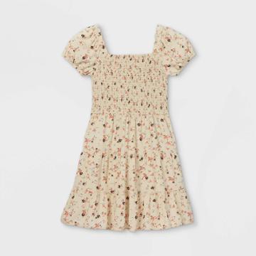 Girls' Smocked Short Sleeve Dress - Art Class Ivory