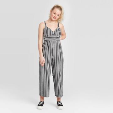 Women's Striped Sleeveless V-neck Knit Cropped Jumpsuit - Xhilaration Black