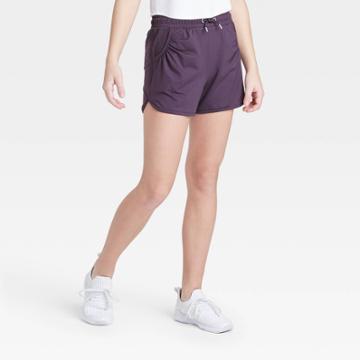 Girls' Soft Gym Shorts - All In Motion Dark Violet M, Girl's, Size: Medium, Dark Purple