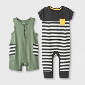 Baby Boys' 2pc Tank Short & Colorblock Dolman Rompers - Cat & Jack Green/gray 18