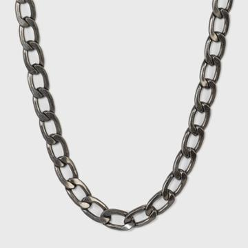 Chunky Flattened Curb Chain Necklace - Universal Thread Worn Hematite