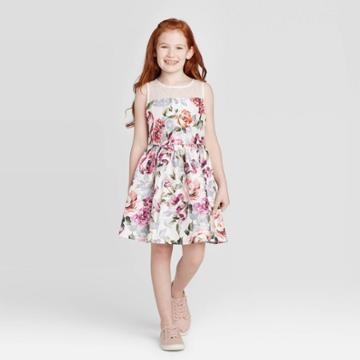 Zenzi Girls' Floral Dress - Ivory S, Girl's, Size: Small,