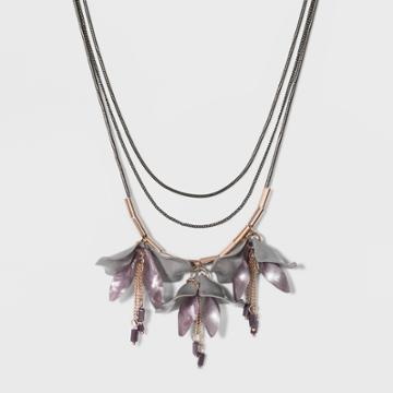 Statement With Hanging Deconstructed Florals Necklace - A New Day Purple