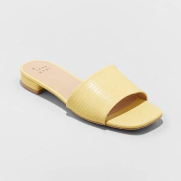Women's Summer Dress Slide Sandals - A New Day Yellow
