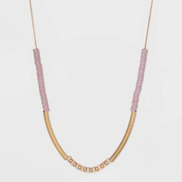 Semi-precious Rose Quartz And Flat Disc Beaded Station Necklace - Universal Thread Pink, Women's