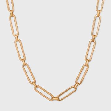 Paper Clip Chain Necklace - Universal Thread Worn Gold
