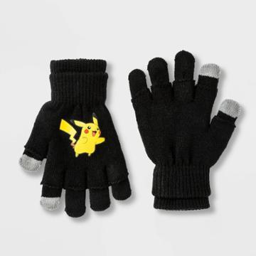 Boys' Pokemon Pikachu 3 In 1 Gloves - Black One Size, Boy's, Black Yellow