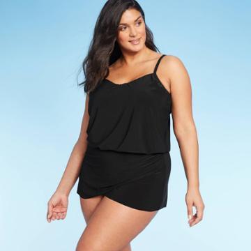 Women's Drape Front Swim Dress - Aqua Green Black M, Women's,