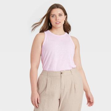 Women's Plus Size Linen Tank Top - A New Day