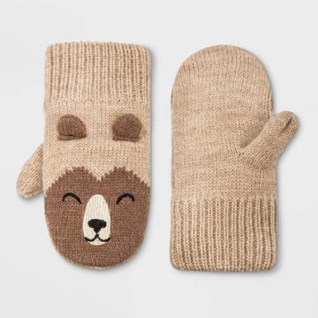 Toddler Boys' Bear Mittens - Cat & Jack Beige