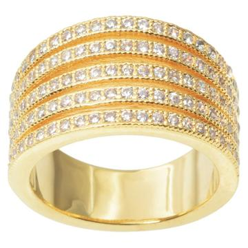 1 1/6 Ct. T.w. Journee Collection Round Cut Cz Pave Set Split Strand Ring In Brass - Gold