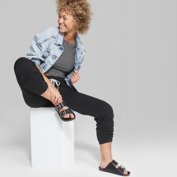 Women's High-rise Jogger Vintage Sweatpants - Wild Fable Black