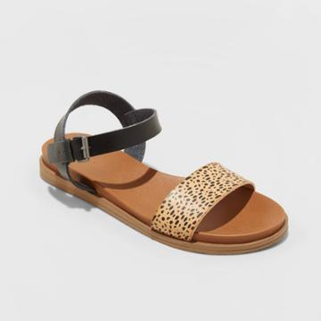 Women's Nyla Faux Leather Leopard Print Ankle Strap Sandals - Universal Thread Brown