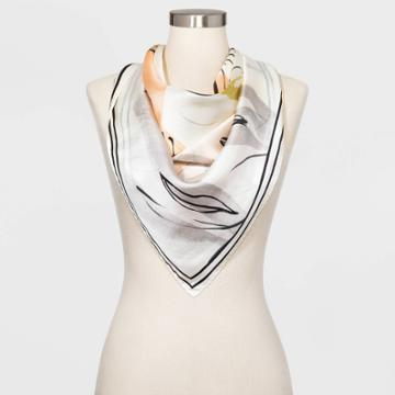 Women's Large Square Floral Print Silk Scarf - A New Day Cream One Size, Women's,