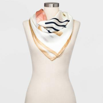 Women's Large Square Geo Print Silk Scarf - A New Day Cream One Size, Women's, Beige