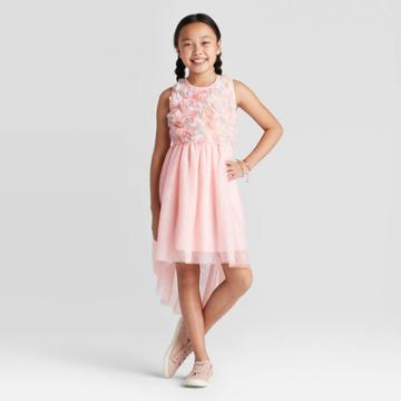 Girls' Textured Floral Dress - Cat & Jack Powder Pink