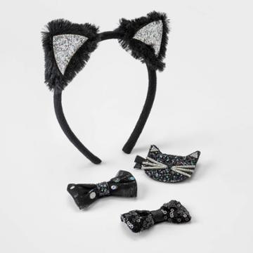Toddler Girls' Halloween Headband And Clip Set - Cat & Jack Black
