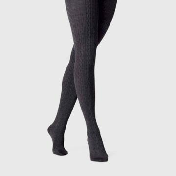 Women's Cable Sweater Tights - A New Day Gray S/m, Size: