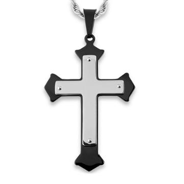 Men's West Coast Jewelry Blackplated Stainless Steel Flared Layer Cross Pendant,