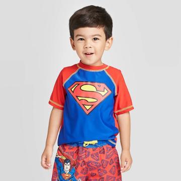 Toddler Boys' Superman Rash Guard - Red 2t, Toddler Boy's,