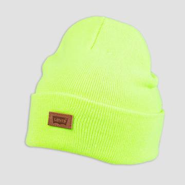 Denizen From Levi's Men's Leather Patch Beanie - Yellow