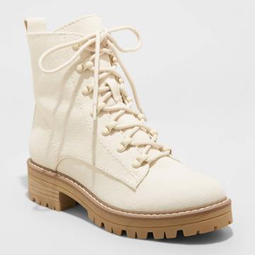Women's Parker Combat Boots - Universal Thread Cream