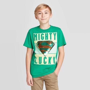 Petiteboys' Superman Flip Sequin Short Sleeve T-shirt - Green