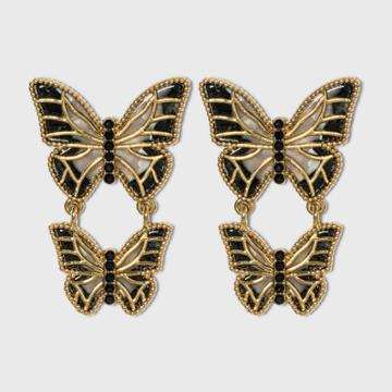 Sugarfix By Baublebar Metallic Butterfly Drop Earrings - Black