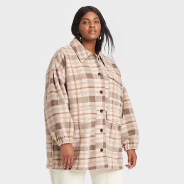 Women's Plus Size Plaid Shirt Shacket - Universal Thread Brown