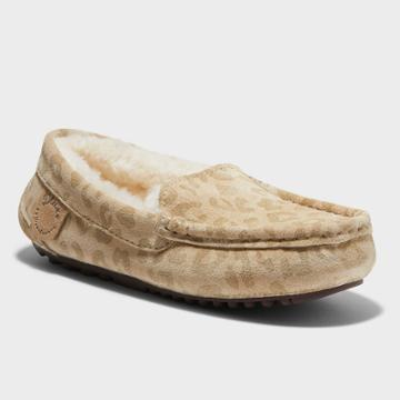 Kids' Dluxe By Dearfoams Jasper Leopard Genuine Shearling Moccasin Slippers - Brown