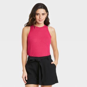 Women's Linen Tank Top - A New Day Dark Pink