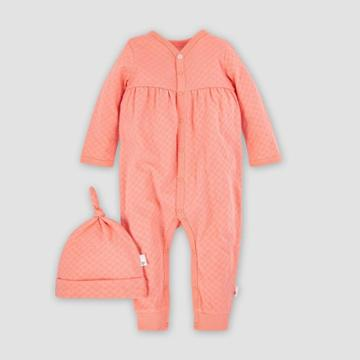 Burt's Bees Baby Baby Boys' Organic Cotton Hexagon Pointelle Jumpsuit And Knot Top Hat - Pink Newborn, Girl's