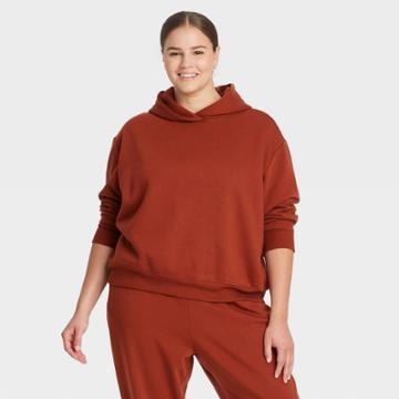 Women's Plus Size Hooded Sweatshirt - A New Day Dark Brown