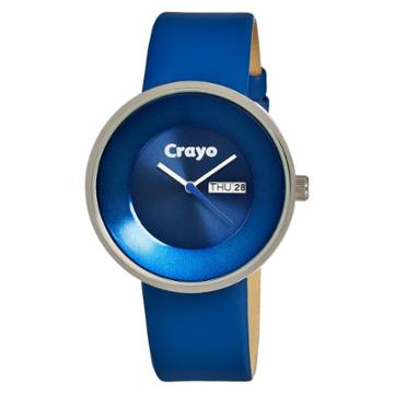 Women's Crayo Button Watch With Day And Date Display - Blue,
