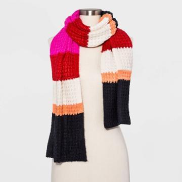Women's Striped Waffle Stitch Scarf - Universal Thread Pink