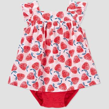 Baby Girls' Strawberry Sunsuit Romper - Just One You Made By Carter's Pink
