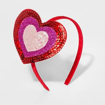 Girls' Glitter Sequin Heart Headband - Cat & Jack Pink