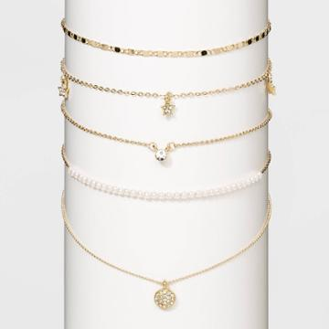 Crystal Acrylic Stones White Pearls Multi Necklace Set - Wild Fable Gold, Women's, Clear