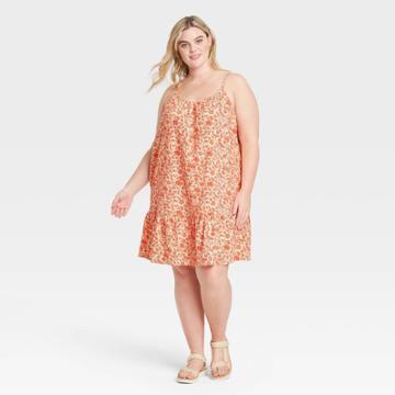 Women's Plus Size Sleeveless Sundress - Universal Thread Red Floral