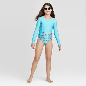 Girls' Cherry Pie Cropped Long Sleeve One Piece Swimsuit Set - Cat & Jack Aqua S, Girl's, Size: Small, Blue/red