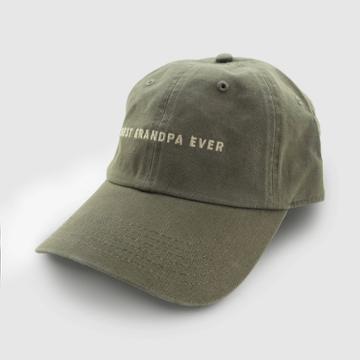 Wemco Men's Best Grandpa Ever Baseball Hat - Olive Green One Size,