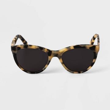 Women's Tortoise Print Acetate Cateye Sunglasses - A New Day Beige