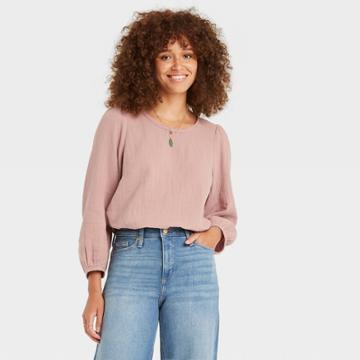 Women's Balloon 3/4 Sleeve Gauze Blouse - Universal Thread Blush